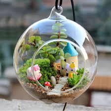 1 pc glass terrarium ball globe shape clear hanging vase flower air plants container mini landscape