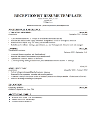 Resume Templates For Medical Office Receptionist Inspirationa Resume