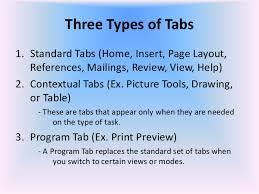 type of tab miicrosoft word 2007