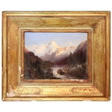 italian oil painting mountain landscape with golden frame