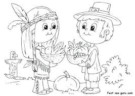Thanksgiving Pilgrim Girl Coloring Pages And Of Pilgrims