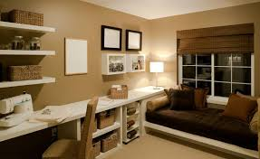stylish home office basement design with window seat and wall mounted desk within wall mounted office