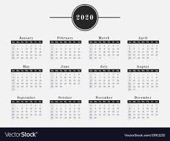 Horizontal Calendar 2020 Year Calendar Horizontal Design