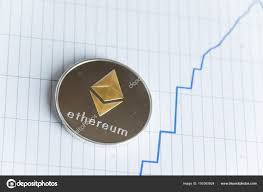 Ethereum Graph Chart Gold Ethereum Cryptocurrency Coin On Spiking Blue Line Graph