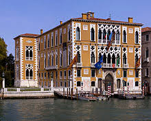 The Palazzo Cavalli-Franchetti is an example of Venetian Gothic architecture  alongside the Grand Canal.