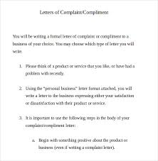 formal complaint letter templates sample example  example formal letter of complaint document template