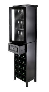 Wine Cabinet Black Burgundy Wine Cabinet 15 Bottle With Glass Door In Black By