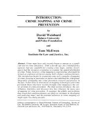 crime mapping and crime prevention paper  introduction crime mapping and crime prevention by david weisburd hebrew university and police foundation and