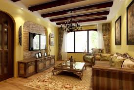 Interior:Eastern Mediterranean Living Toom Decoration With TV Background  Wall Renderings And Classic Chandelier Eastern