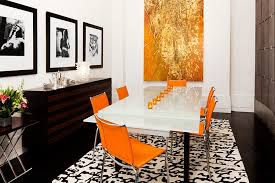 view in gallery posh dining room in orange black and a hint of gold by go