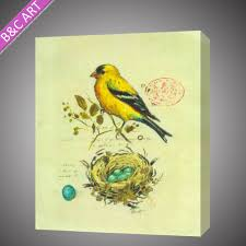 handmade modern abstract yellow bird painting on canvas simple structure oil paintings for