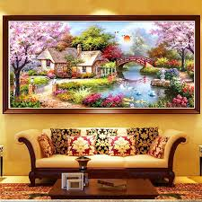 120 50cm diy 5d diamond painting cross stitch home decor wall sticker garden cottage mosaic