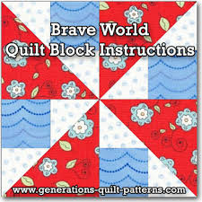 Brave World Quilt Block from our Free Quilt Block Patterns Library & Brave World quilt block tutorial Adamdwight.com