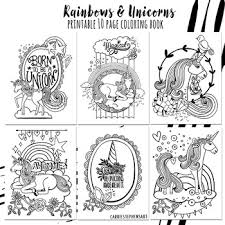 Coloring Pages Unicorns Rainbows Positivity Themed Coloring Book