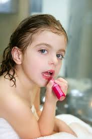 little with lipstick on the bathroom