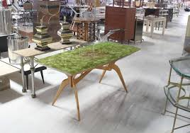 Italian Glass Dining Table Italian Mid Century Modern Dining Table With Art Glass Top At 1stdibs