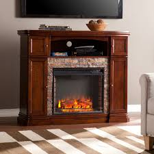 davenport espresso faux stone electric a fireplace