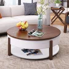 simple burlywood round coffee table
