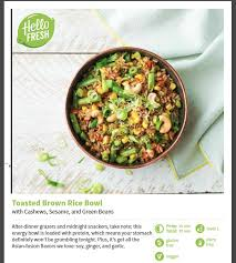 brown rice in a bowl. Delighful Bowl Hello Fresh Toasted Brown Rice Bowl With Cashews Sesame And Green Beans   Alison Smith Copy Me That For In A D