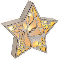 Leuchtender Stern Holz Weihnachtsdeko Mit Hirsch Led Beleuchtung 1 Stk 30x5 Cm Matches21