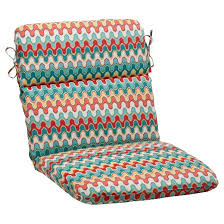 Outdoor Rounded Chair Cushion Red Turquoise Chevron Tar