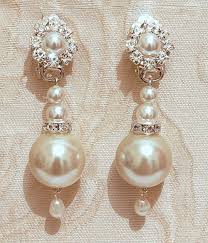 pearls bridal earrings bridal chandelier earrings vintage wedding jewelry swarovski posts silver