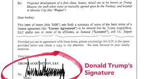 Heres The Letter Of Intent For The Trump Moscow Project