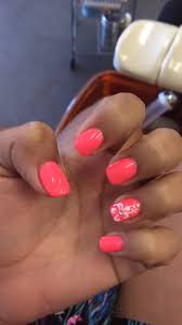 Pink coral Hawaiian flower nails design art shellac gel | Hawaiian ...