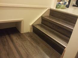 How To Hardwood Stairs Luxury Vinyl Plank On Stairs With White Risers Vinyl Floors