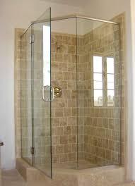 corner shower stalls. Interesting Corner Shower Stalls With Tile Wall And Glass Door Plus Windw For Bathroom Design