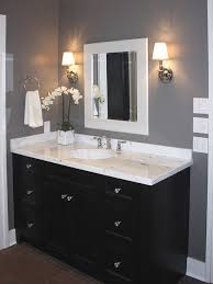 white bathroom cabinets gray walls. bathroom example of light counter with dark wood- espresso cabinet grey wall white trim cabinets gray walls r