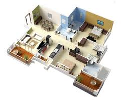 House Designs Floor Plans 3 Bedrooms 20 Designs Ideas For 3d Apartment Or One Storey Three