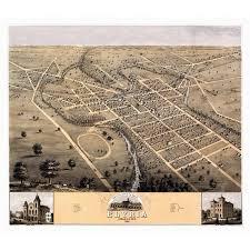 Vintage Map Of Elyria Ohio 1868 Lorain County Canvas Art 24 X 36
