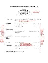 Job Resume Examples For High School Students Student Highschool