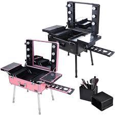 rolling studio makeup train case cosmetic w light leg mirror wheeled salon opt
