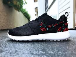 Nike Roshe Run Cool Designs Womens Custom Nike Roshe Run Sneakers Roses Design Black