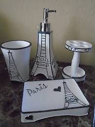 eiffel tower bathroom decor  4pc bella lux bath accessory set paris soap dispenser apothecary