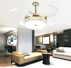 retractable lamps ceiling fan led dimming lights crystal folding modern simple