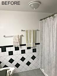 Retro Black White And Teal Bathroom Makeover On A Budget The - Bathroom makeover