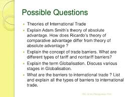 theories of international trade tariff and non tariff barriers an  36 possible questions theories of international trade