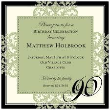 Decorative Square Border Green 90th Birthday Invitations Paperstyle