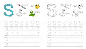 Tracing worksheet for letter S — Stock Vector © Anna_Mikhailova ...