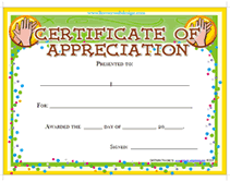 Certificate Of Appreciation Templates Free Download Printable Certificates Of Appreciation Templates Download Them And