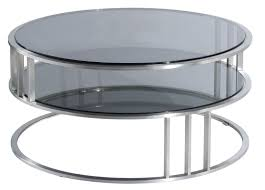 contemporary modern round coffee table with round glass top and storage plus metal frame and base ideas