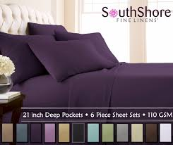souths fine linens 6 piece extra deep pocket bed sheet sets pillow cases purple twin