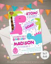 Dinosaur Birthday Invitation Dinosaur Birthday Invitation Dinosaur Invitation Girl Dinosaur Invite Dinosaur Party Dinosaur 1st 2nd 3rd 4th Birthday Party Digital