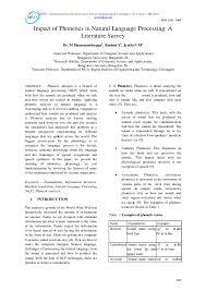 Pdf Impact Of Phonetics In Natural Language Processing A