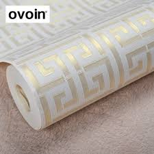 Goud Griekse Sleutel Patroon Wit Behang Moderne Geometrische