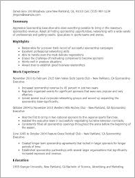 Resume Templates: Sponsorship Executive