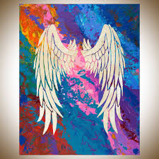 angel s wings 2 by qiqigallery 30 x24 stretched canvas original large blue purple painting abstract painting modern abstract large wall art canvas art